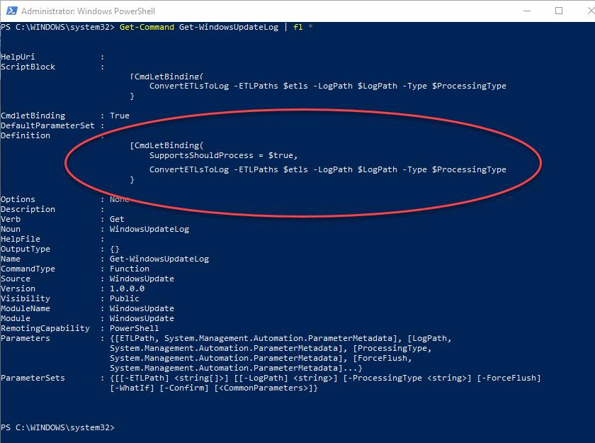 Get-WindowsUpdateLog command properties